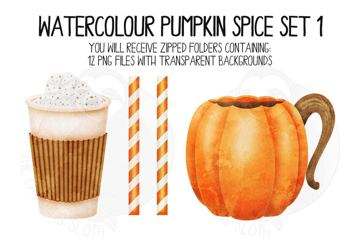 Watercolor Pumpkin Spice Clip Art Set 1 example image 6
