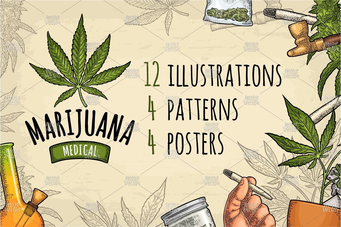 Marijuana Cigarette pipe bud hand leaf. Engraving example image 2