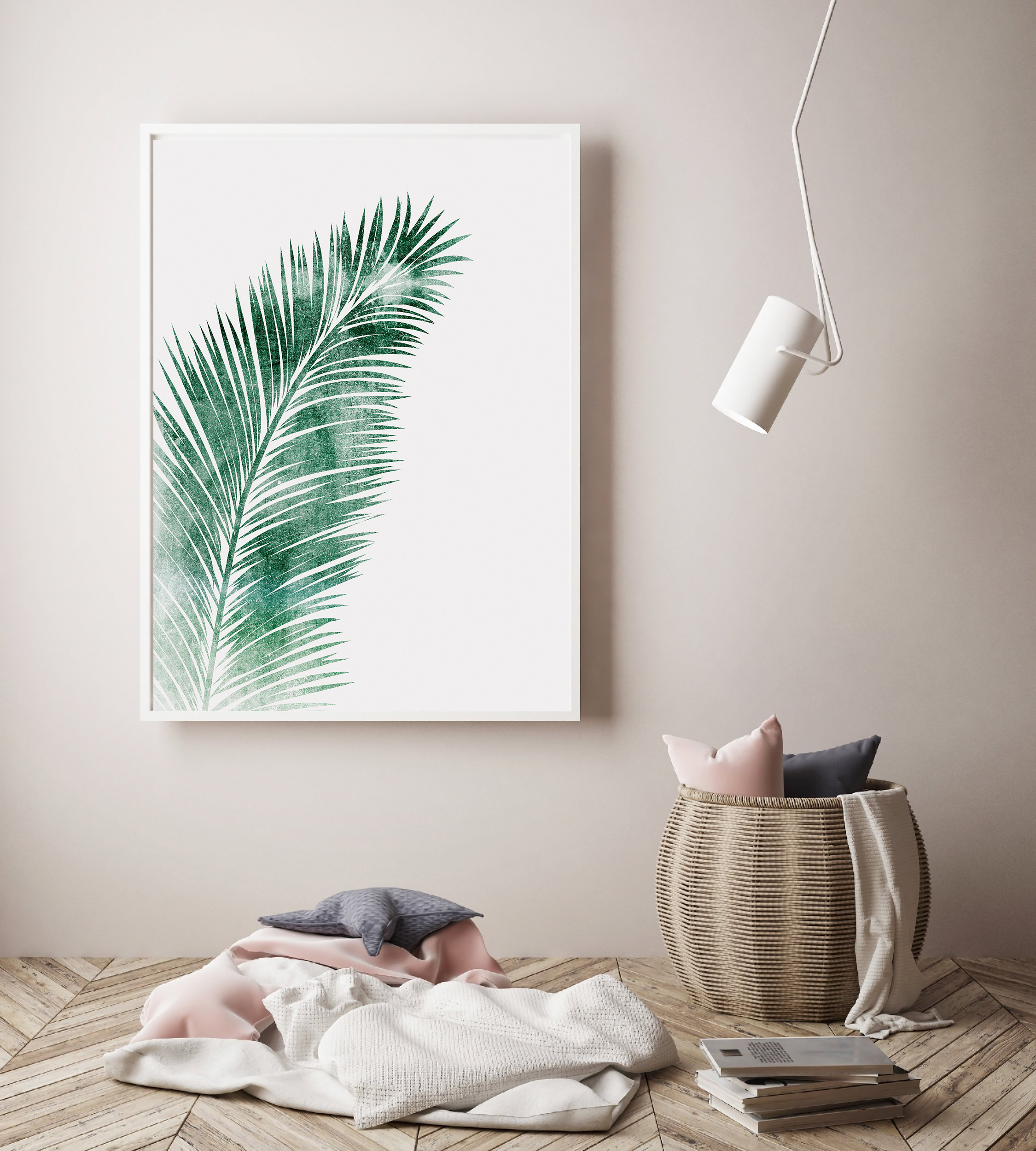Green Palm Leaf Wall Art, Tropical Leaf for Living Room example image 4