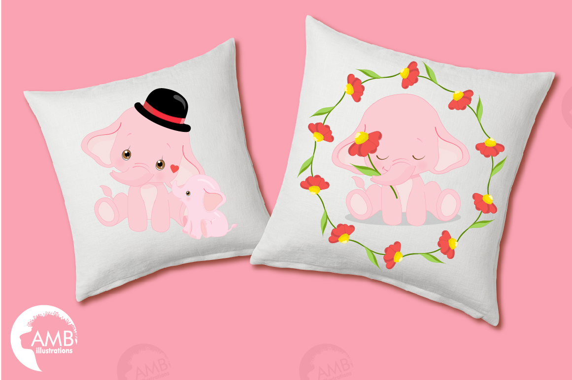 ELEPHANT babies in pink! BUNDLE! 53 cliparts, graphics and illustrations and Patterns AMB-2276 example image 11