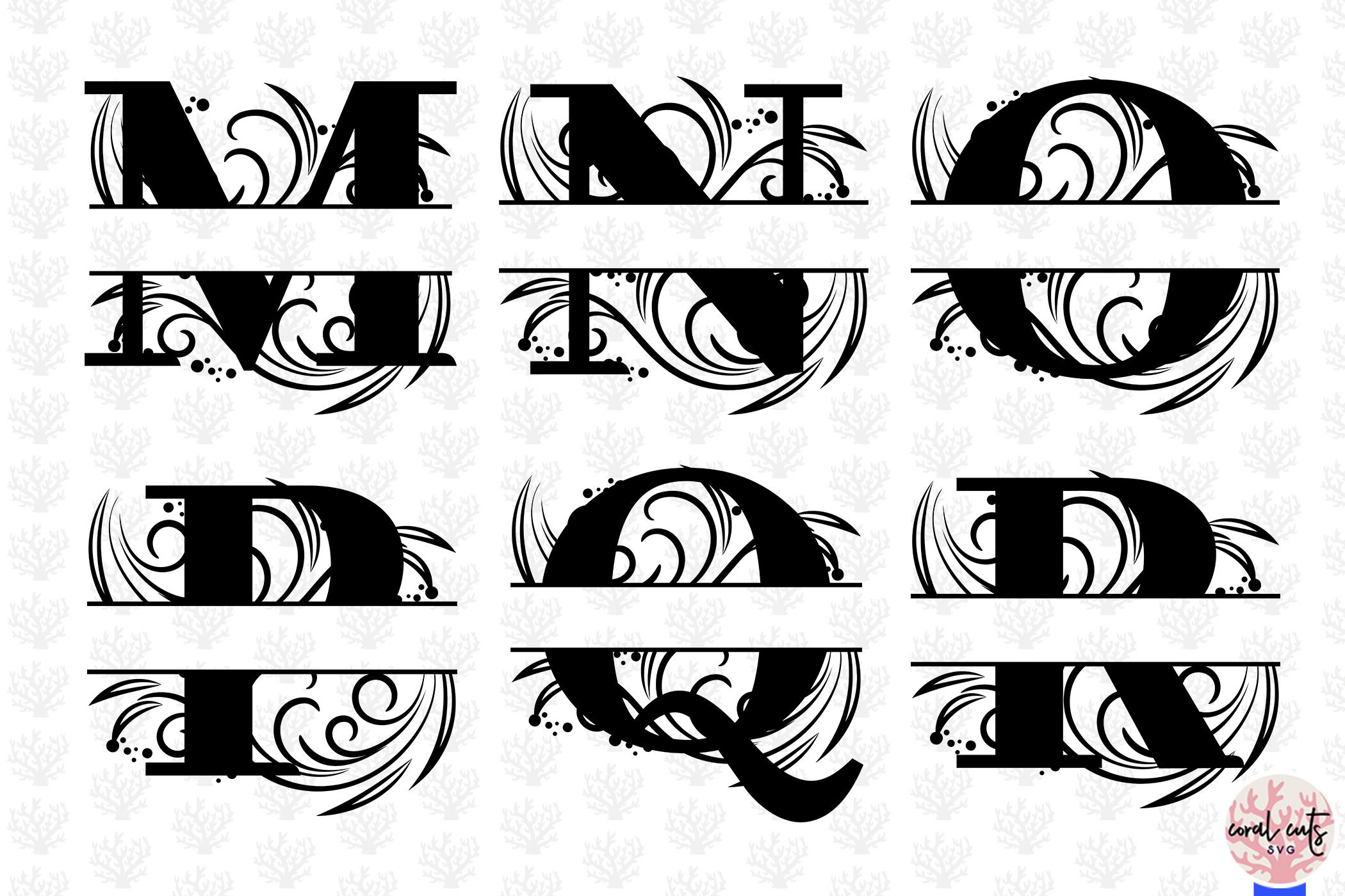 Floral Split Monogram Cut Files - Svg EPS DXF PNG File example image 4