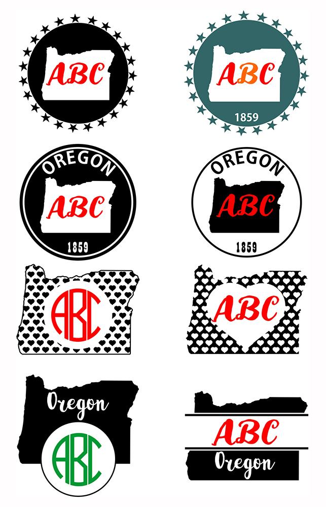 Oregon Monograms SVG, JPG, PNG, DWG, CDR, EPS, AI example image 2