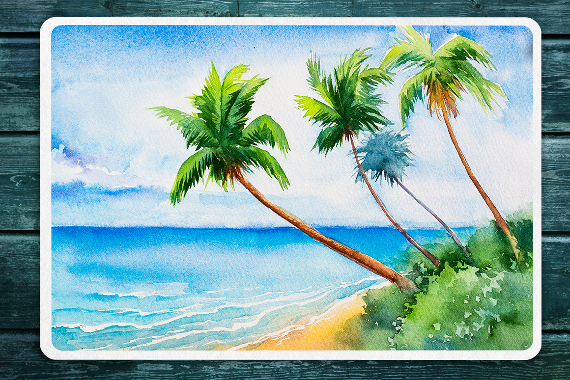 Seascapes 2. Watercolor set. example image 6