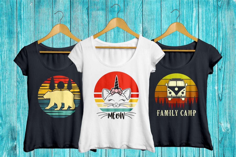 vintage sunset retro t-shirt designs, unicorn cat bear svg example image 3