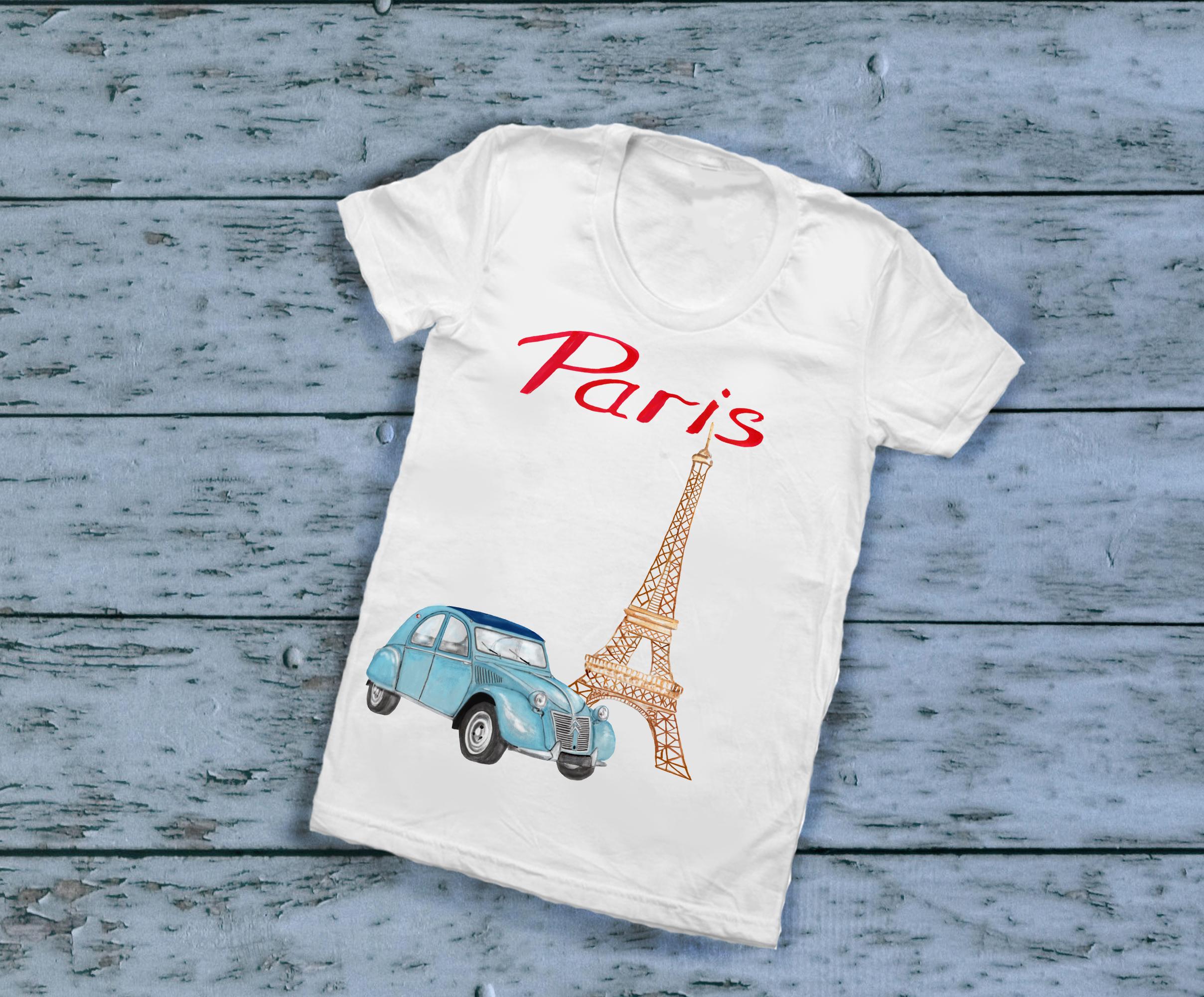 Paris clipart, Notre Dame, scooter clipart, eiffel tower example image 6