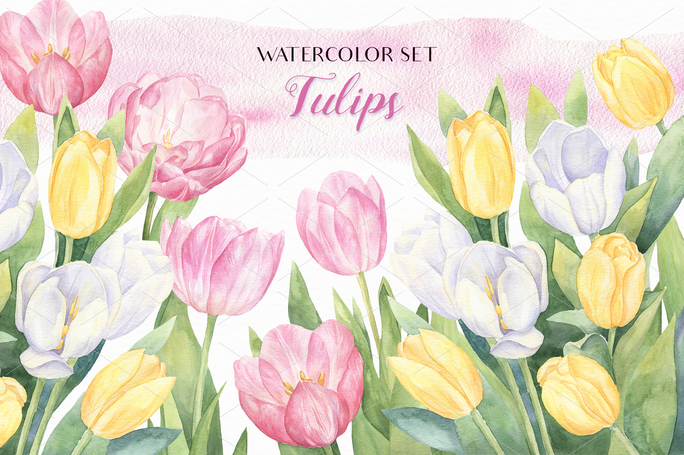 Watercolor Tulips example image 1