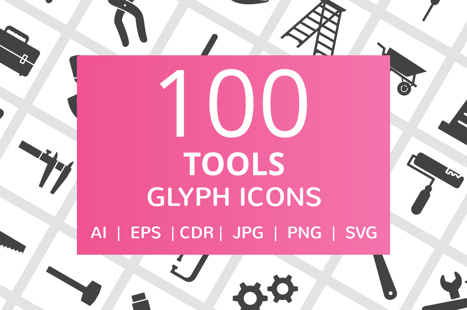 100 Tools Glyph Icons example image 1