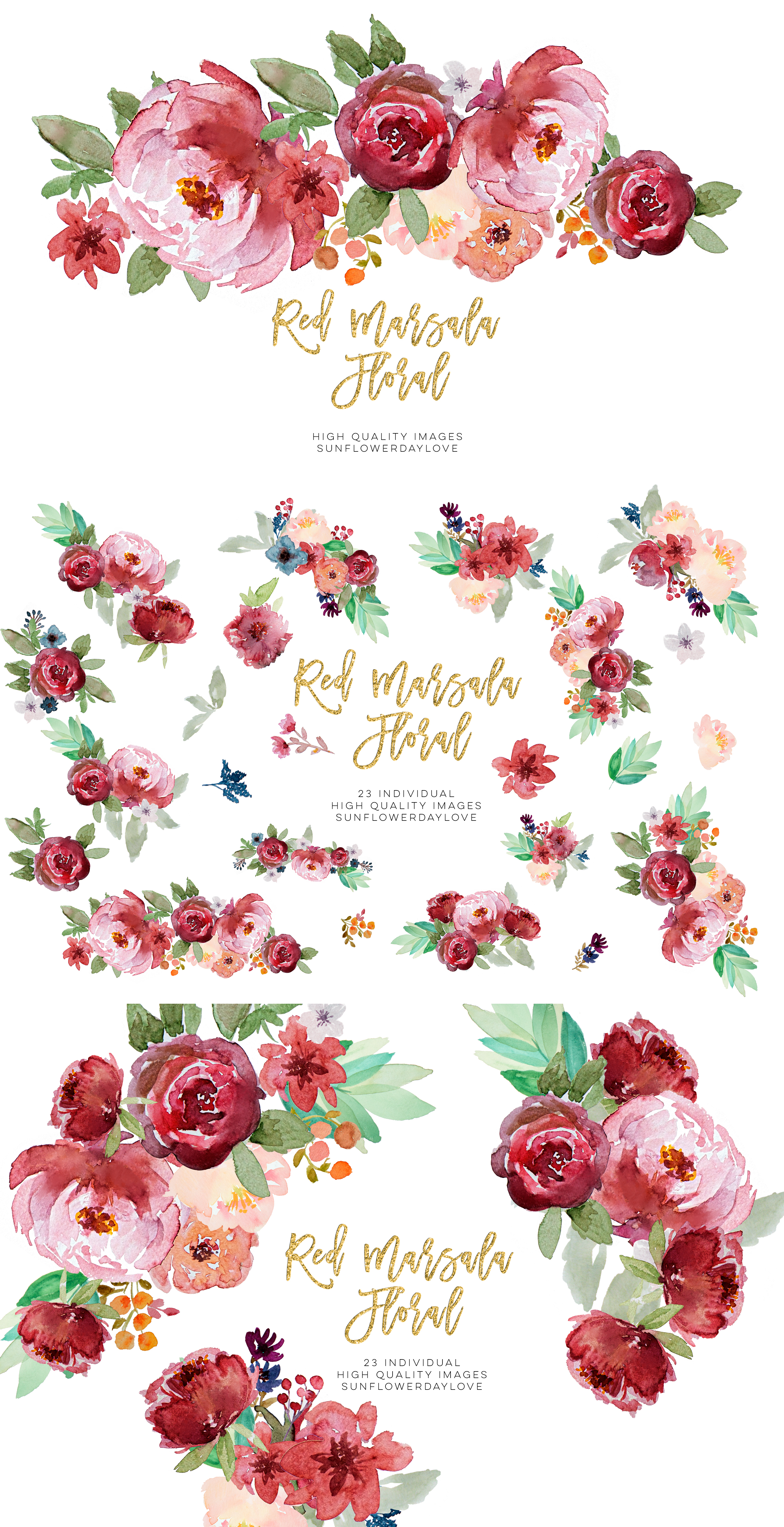 Red marsala floral watercolor clipart example image 4