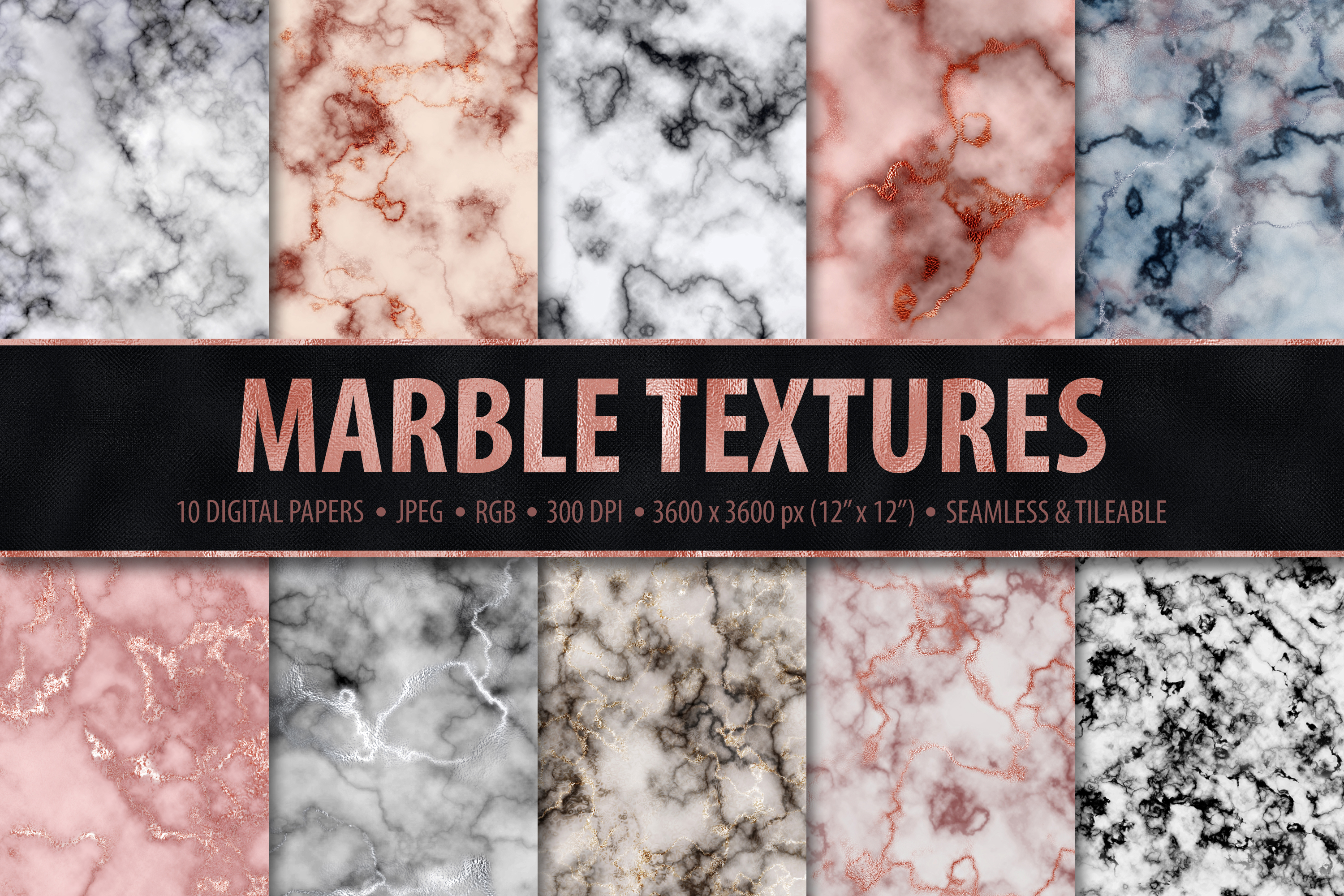 Marble Digital Papers - 10 Seamless Textures example image 1