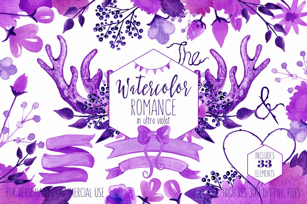 Purple wedding. Clipart woodland watercolor ultra