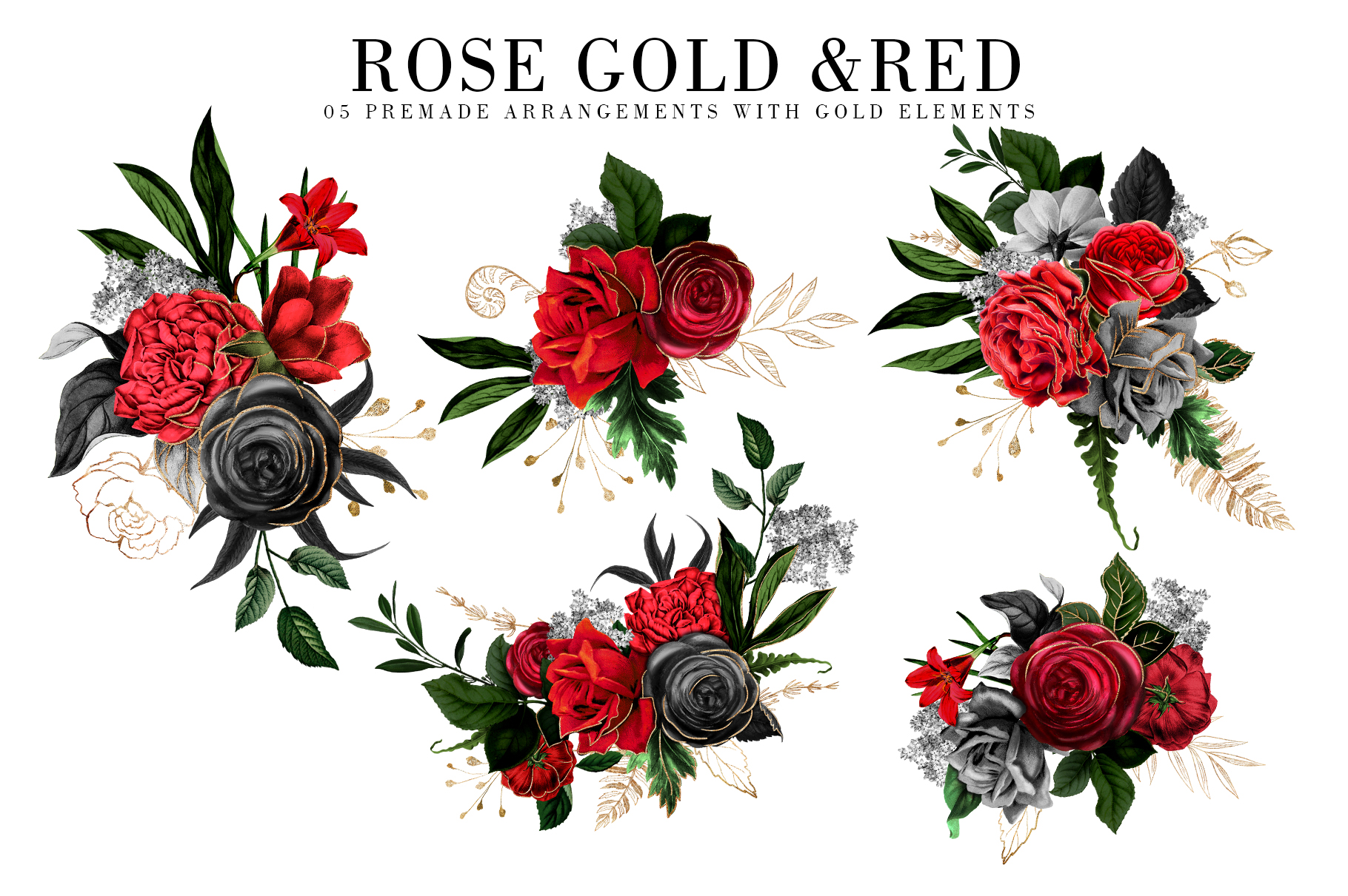 Red Flowers and Gold| Roses vintage and gold example image 5