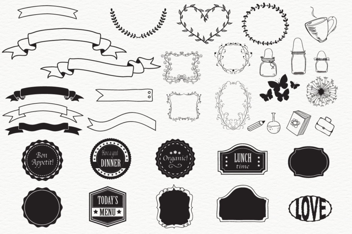 100 HandSketched Vector Elements example image 3
