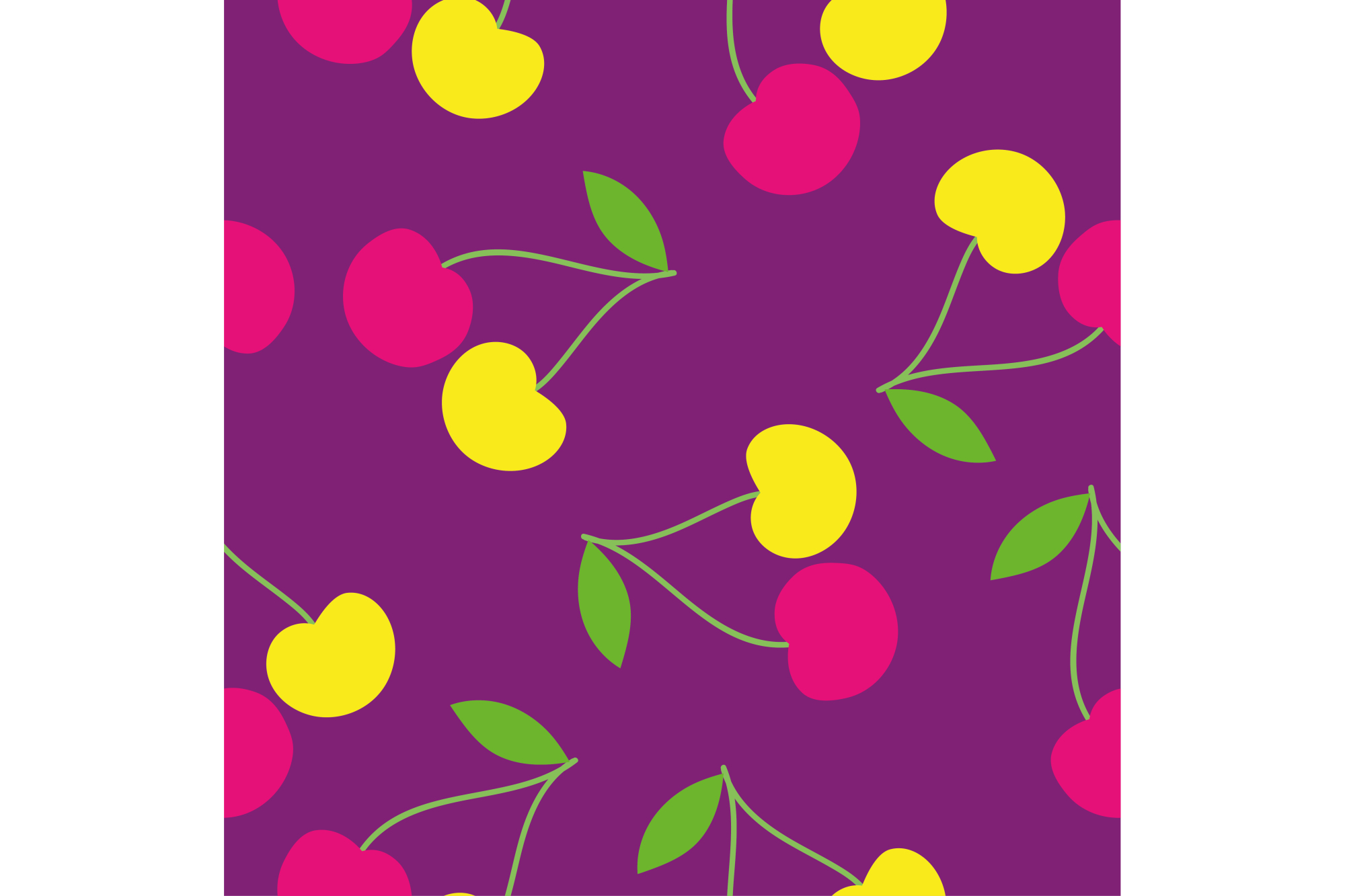 Seamless vector background with decorative cherries. Print. Repeating background. Cloth design, wallpaper. example image 1