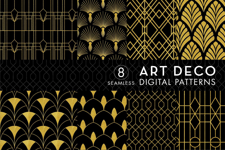 8 Seamless Art Deco Patterns , Black \u0026 Gold Set 3