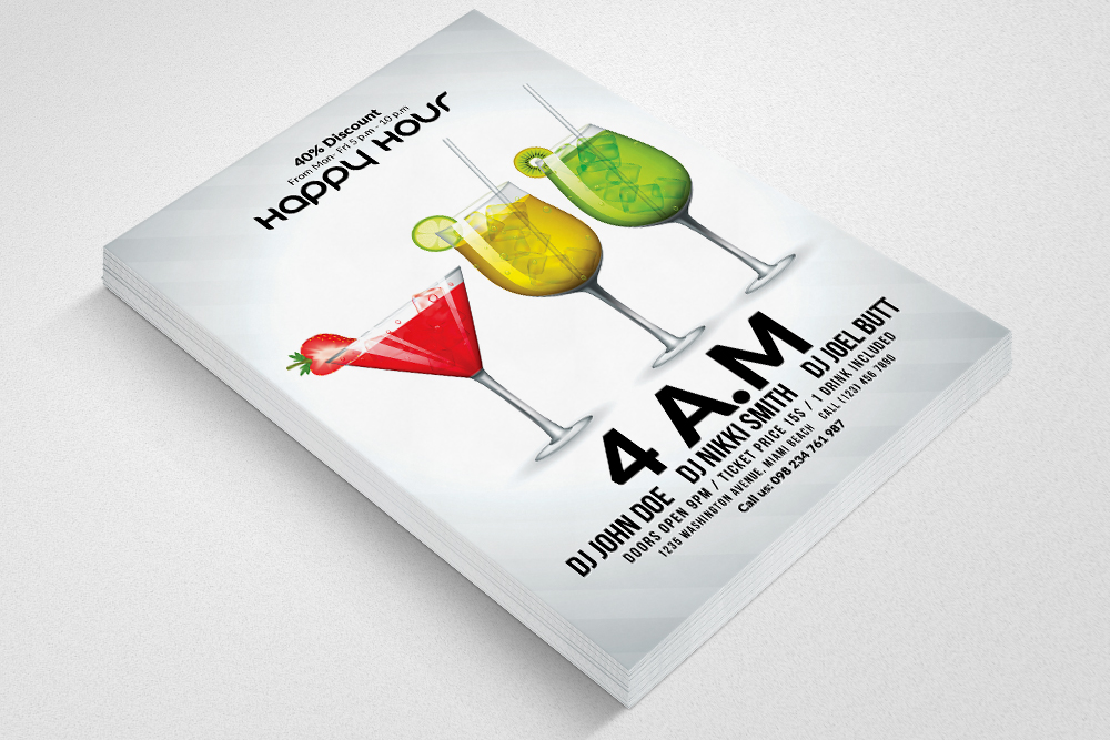 Happy Hour Flyer Template 09 example image 2