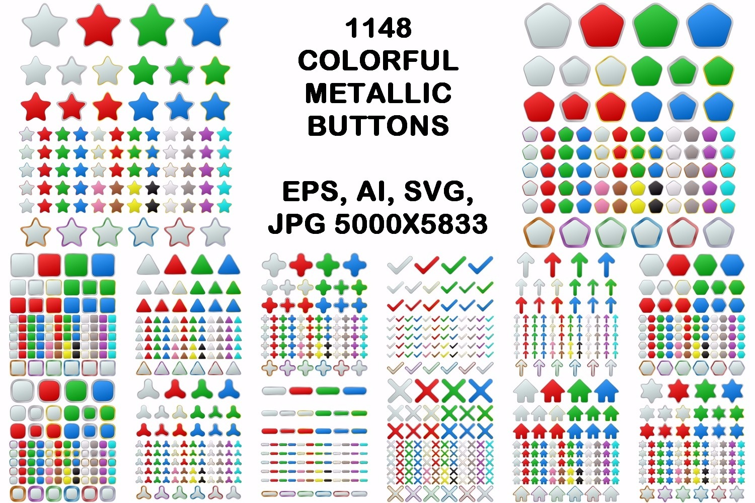 1148 colored geometric metallic buttons (EPS, AI, SVG, JPG 5000x5833) example image 1
