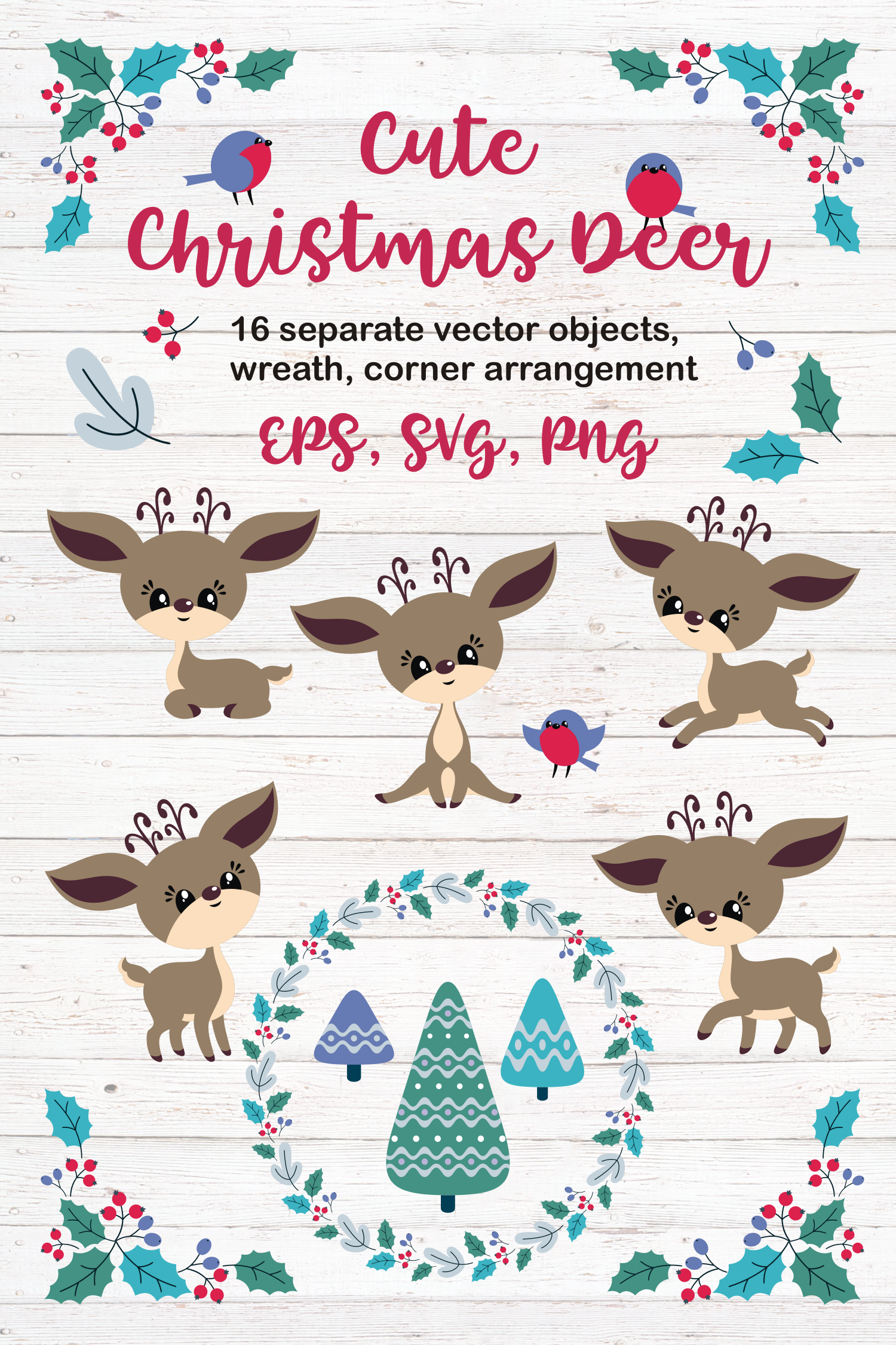 Cute Christmas Deer. Vector cliparts. example image 5