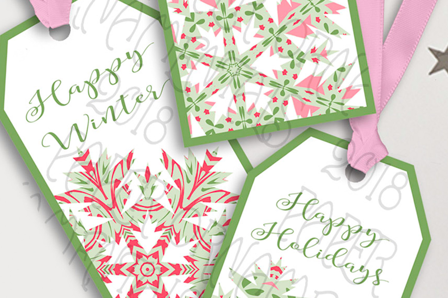 Printable Holiday Gift Tags, Snowflake Holiday Sayings Tags example image 3