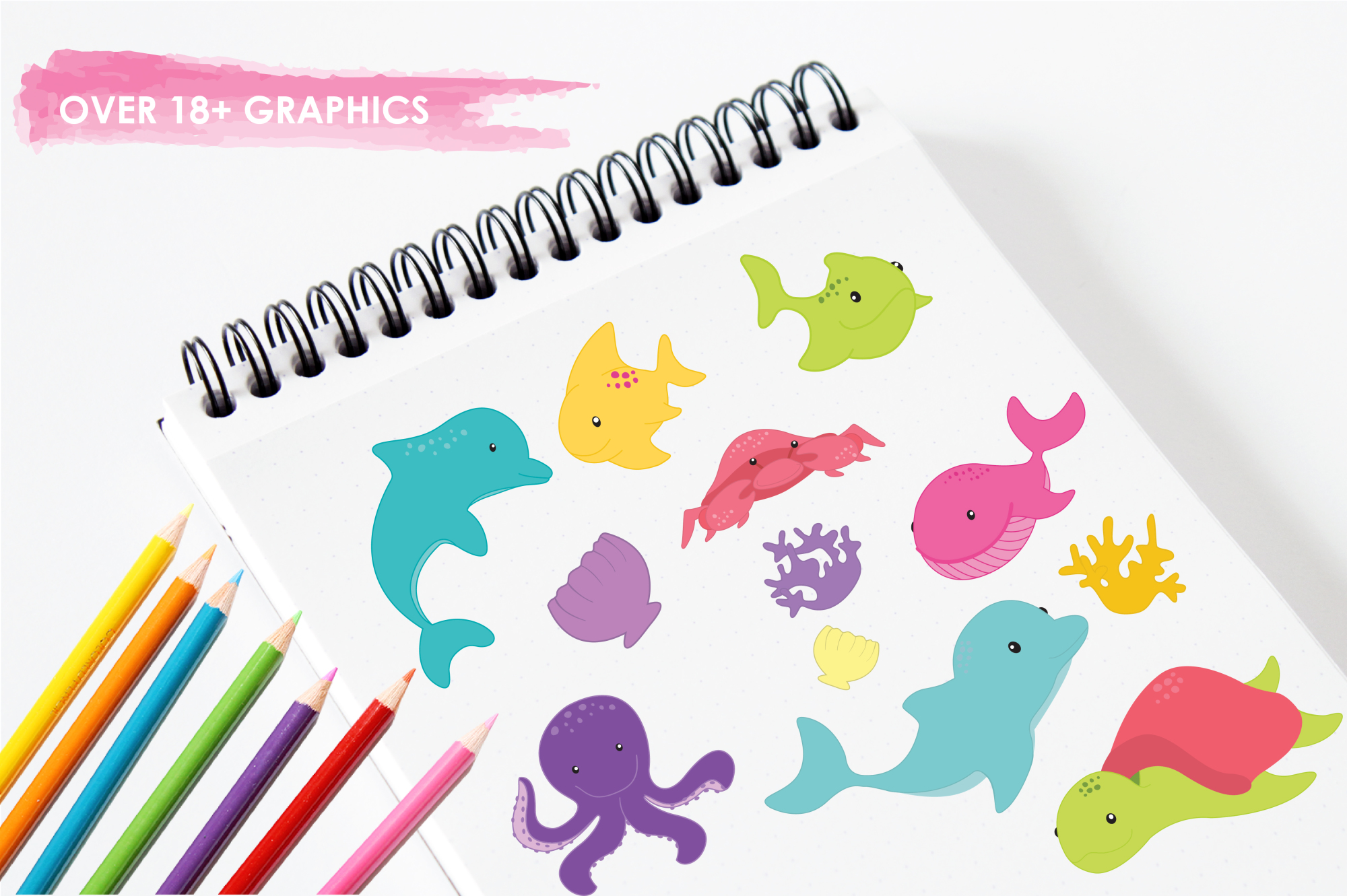 Sea Creatures Girls graphics and illustrations example image 3