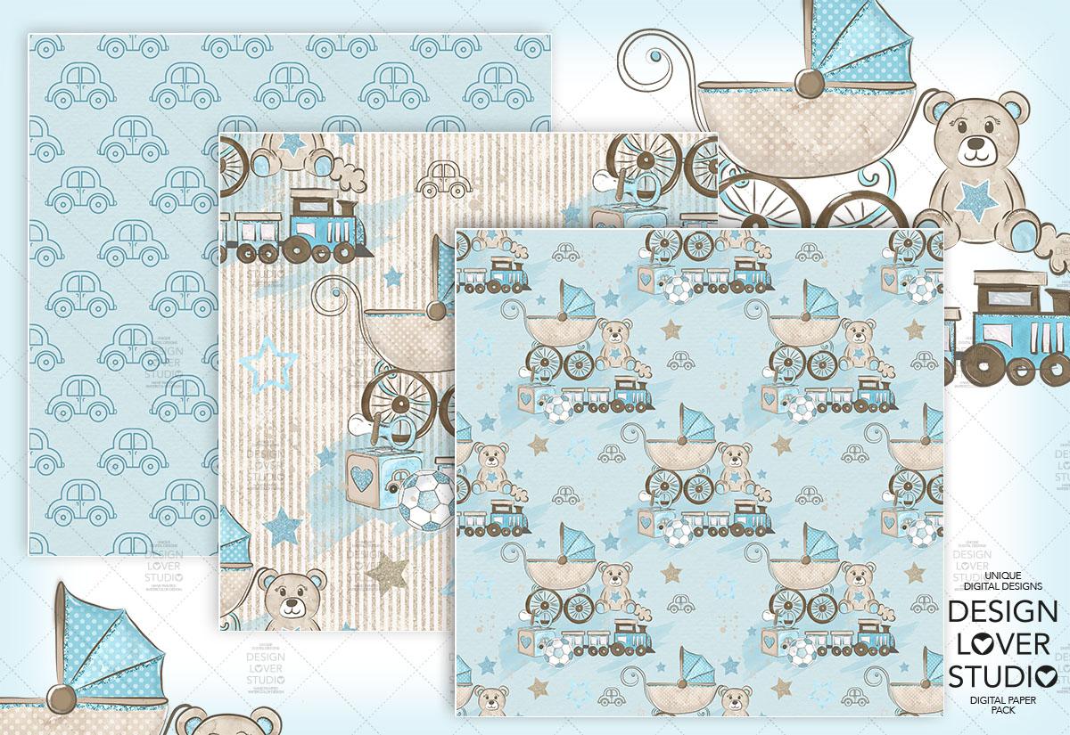 Baby Boy digital paper pack example image 4
