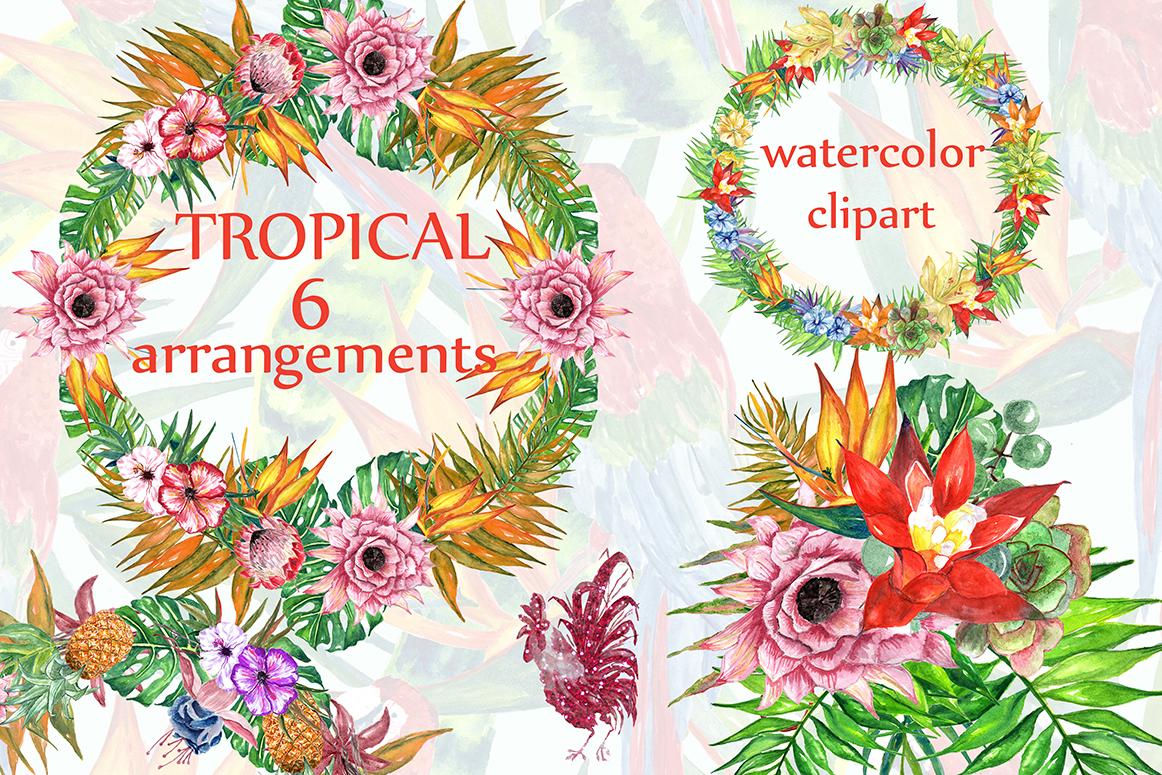 Tropic watercolor clip art example image 1