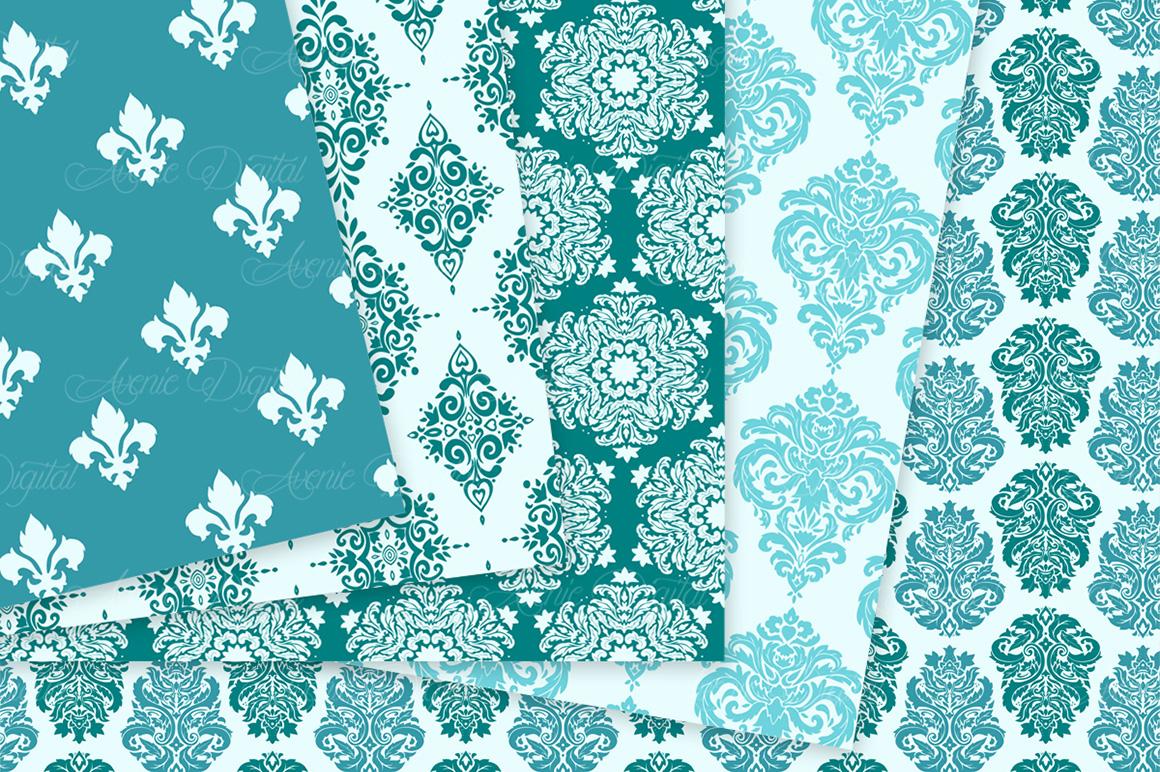 28 Teal Damask Patterns - Seamless Digital Papers Bundle example image 9