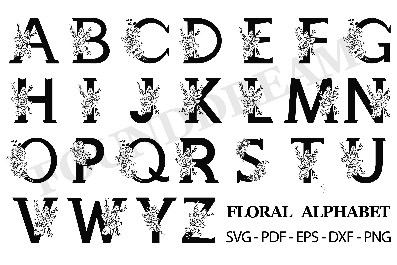 Floral Alphabet SVG example image 1