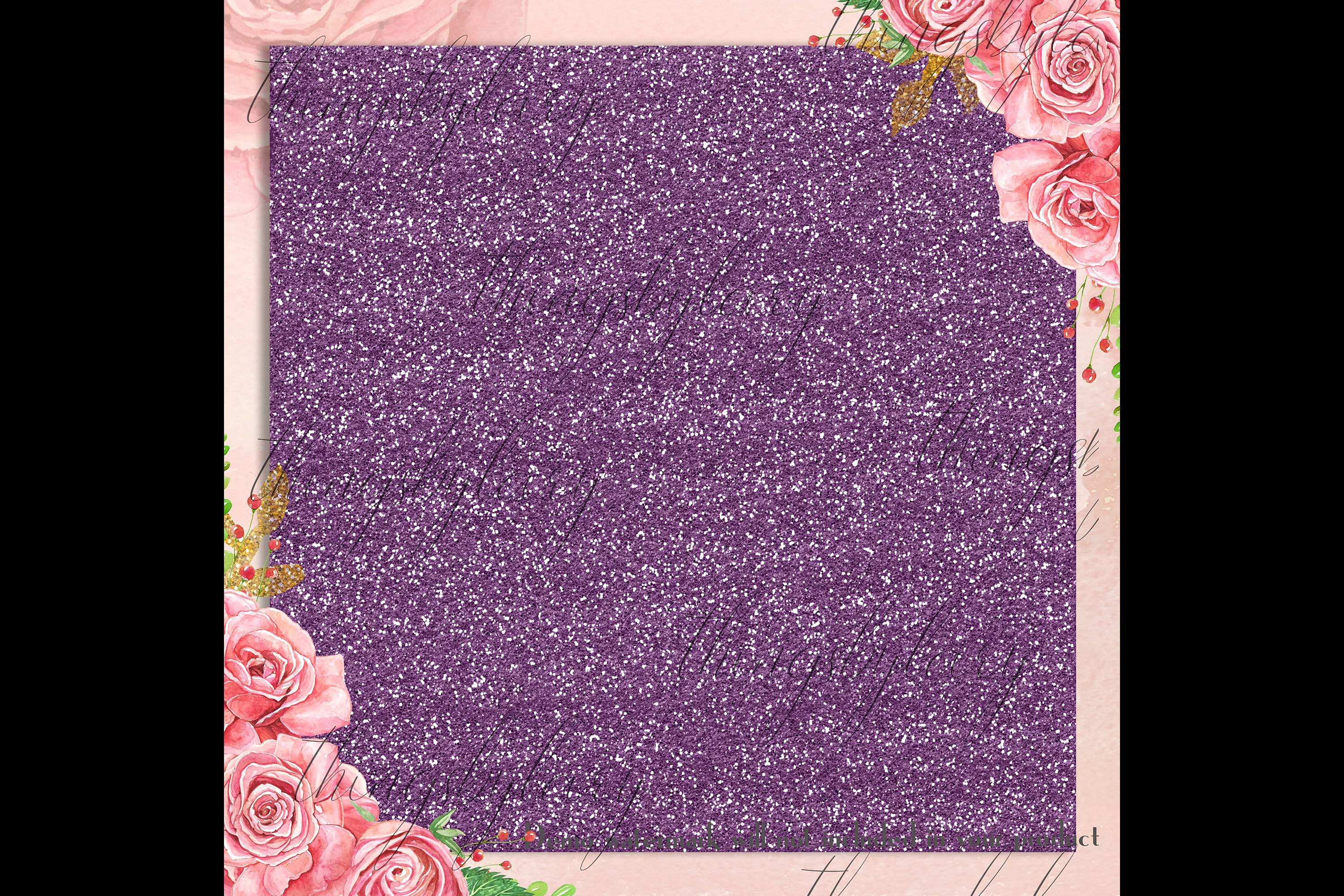 42 Amethyst Plum Purple Lilac Glitter Sequin Digital Papers example image 3