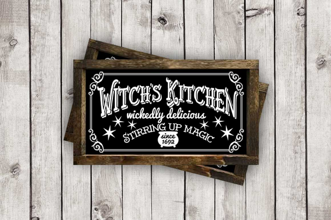 Witch's Kitchen Halloween Sign cut File - SVG DXF EPS AI PNG example image 2
