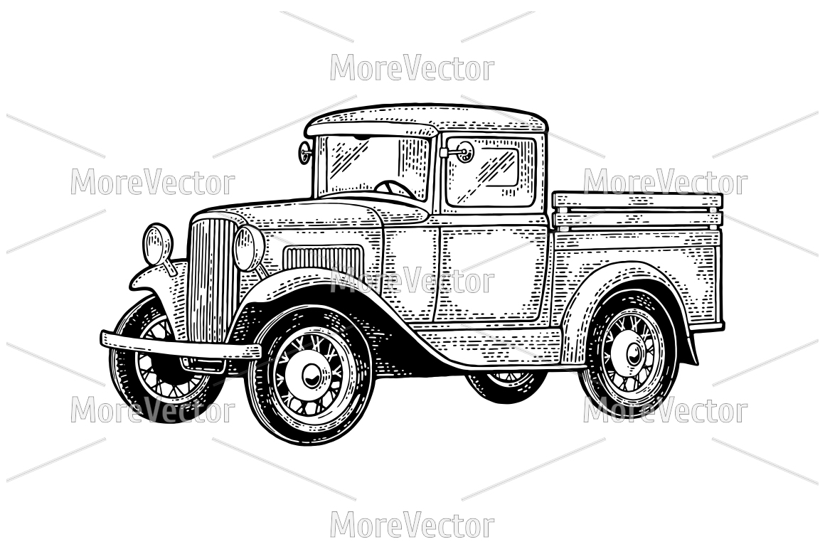 Retro pickup truck. Side view. Vintage black engraving  example image 1