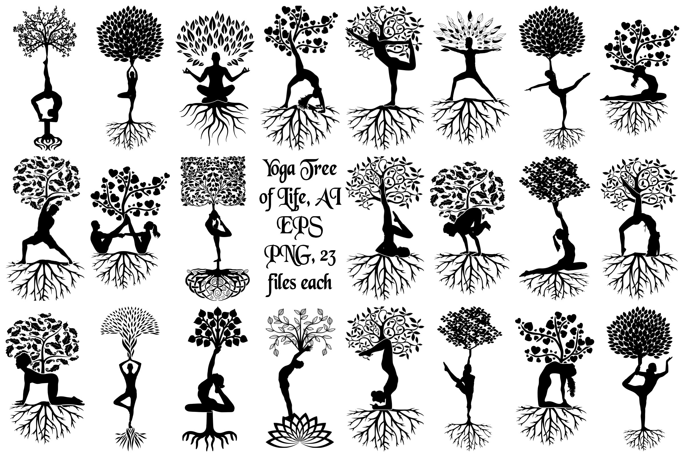 Yoga Tree Silhouettes AI EPS Vector & PNG example image 1