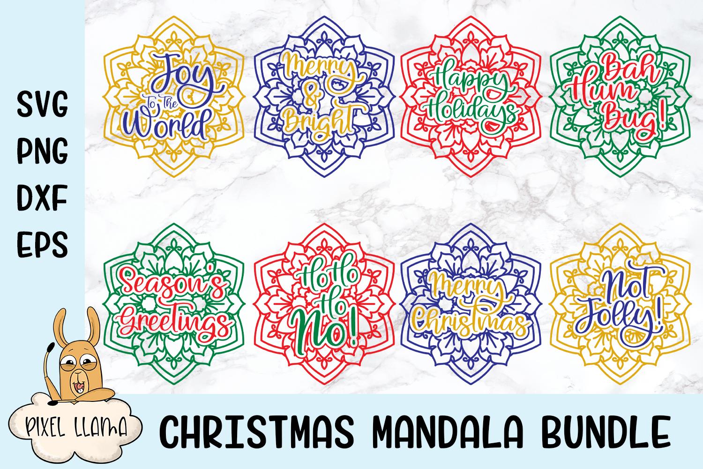 Christmas Mandala Bundle of 8 SVGs example image 1