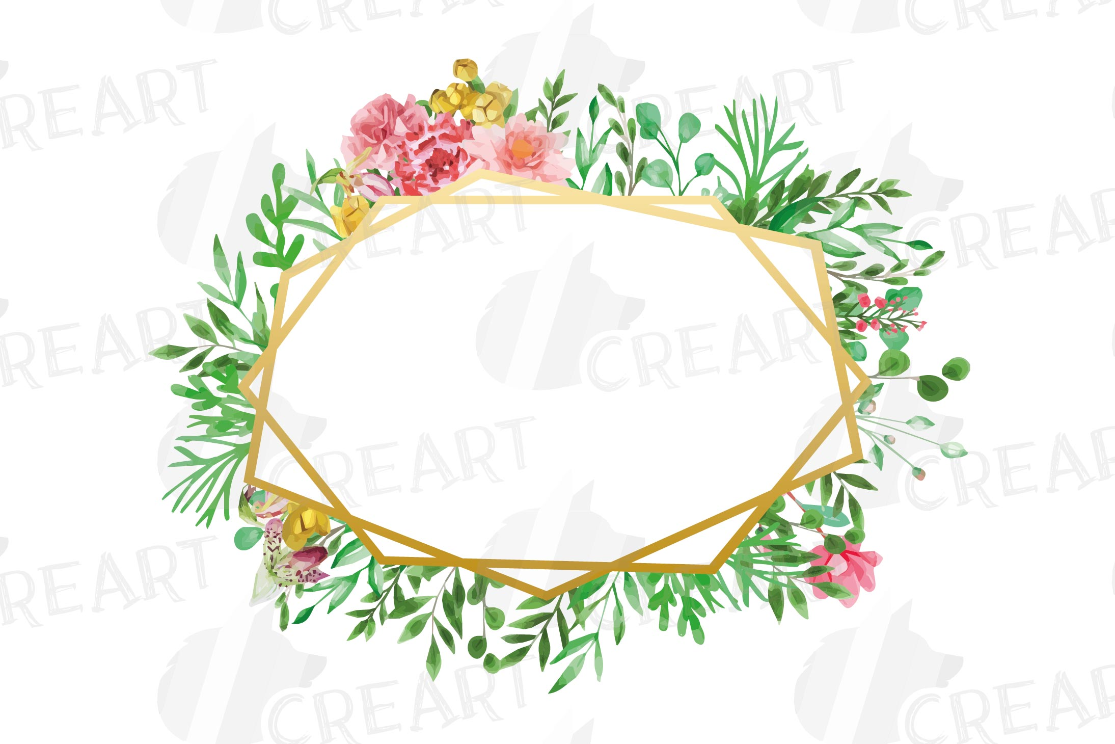 Watercolor floral floral frames and borders clip art pack example image 6