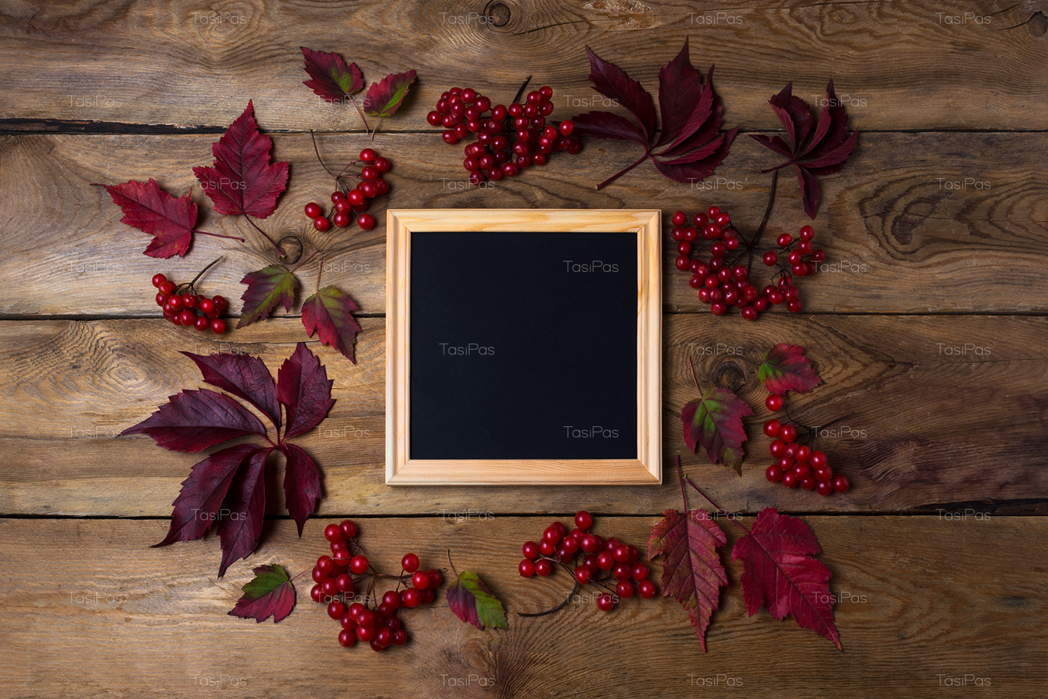 Rustic square frame mockup with viburnum berries example image 4