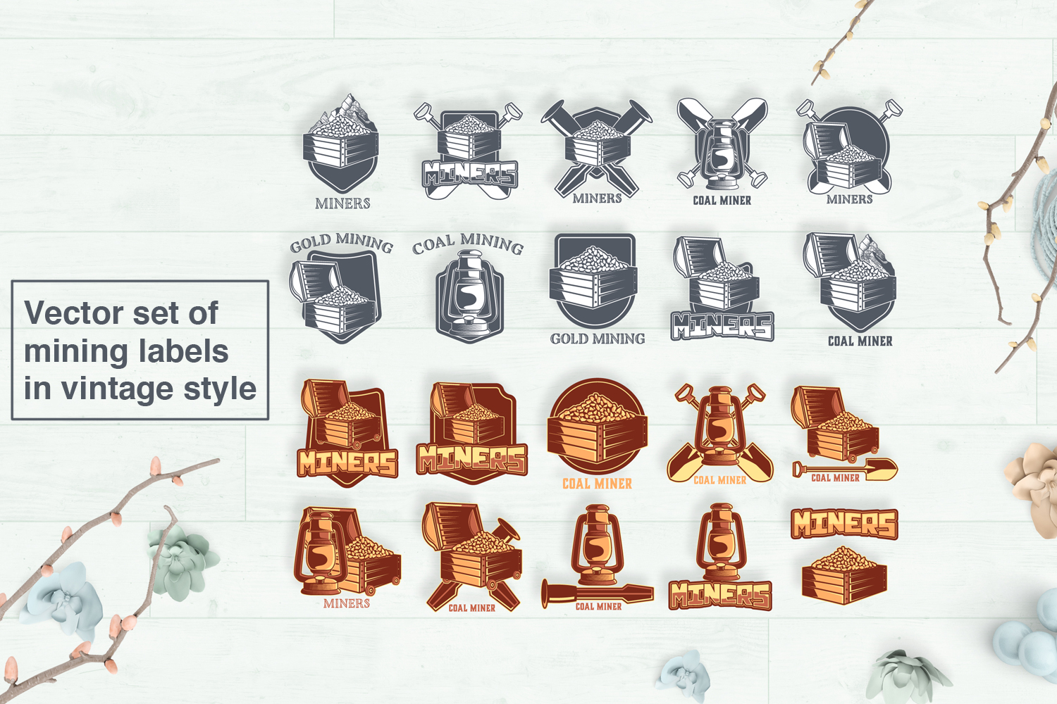 Vector set of mining labels in vintage style example image 1