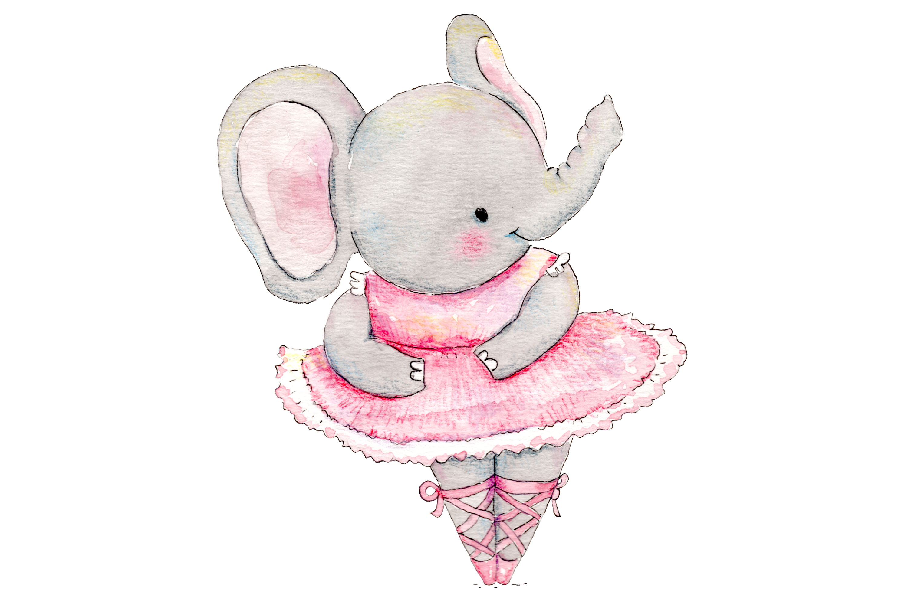 Watercolor Ballet Animals | 8 Clip Art Illustrations-PNG/JPG example image 2