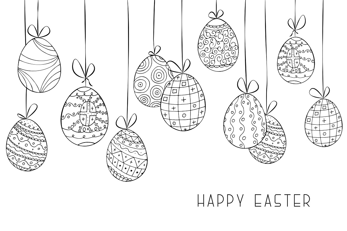 Hand drawn Easter background, card example image 1