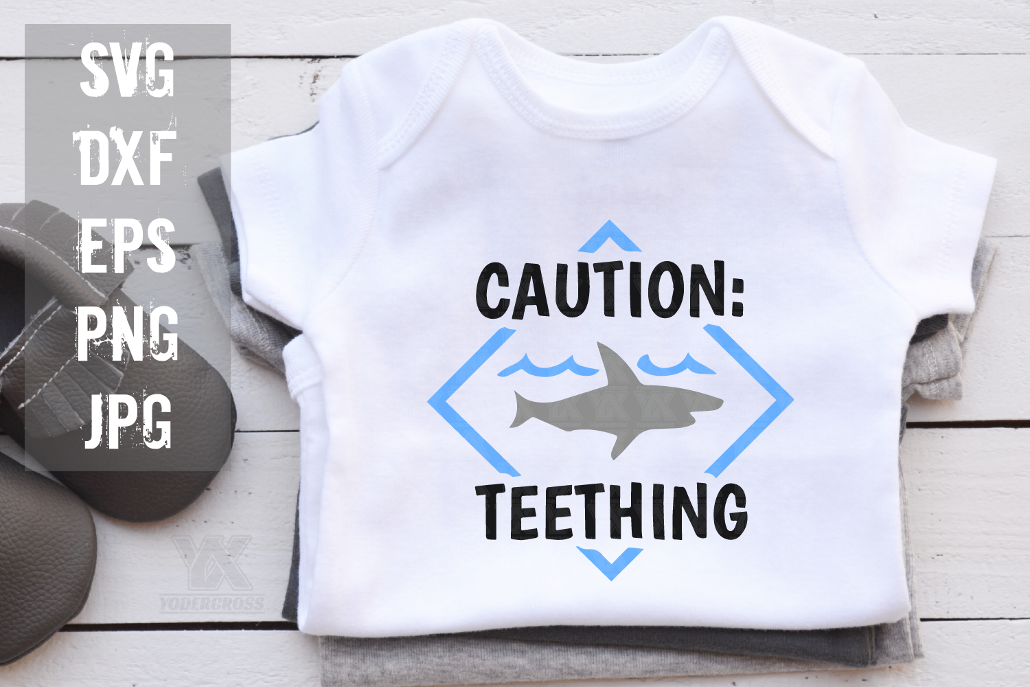 Caution Teething Shark SVG example image 1