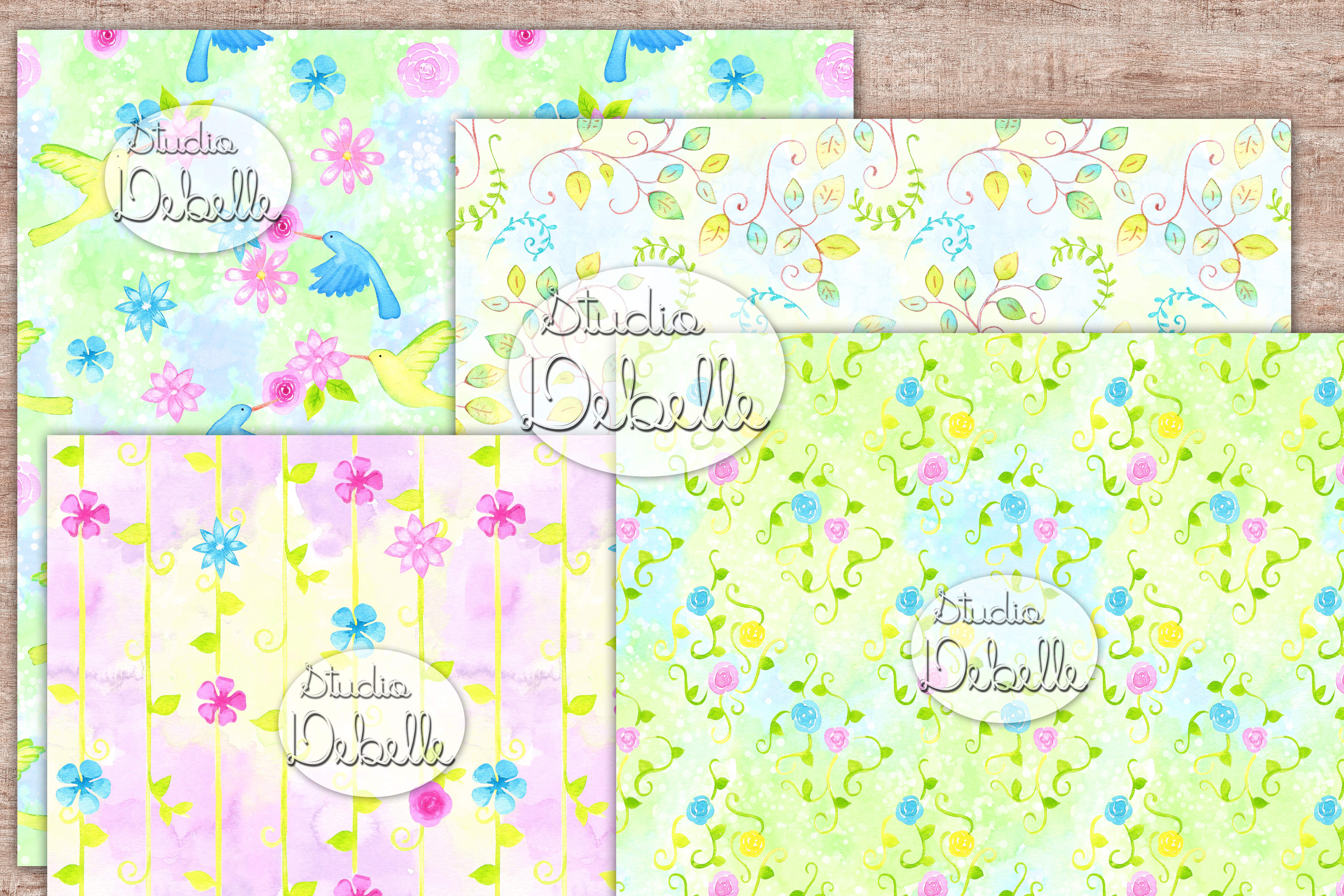 Watercolor Lovely Flowers - digital papers seamless patterns example image 2