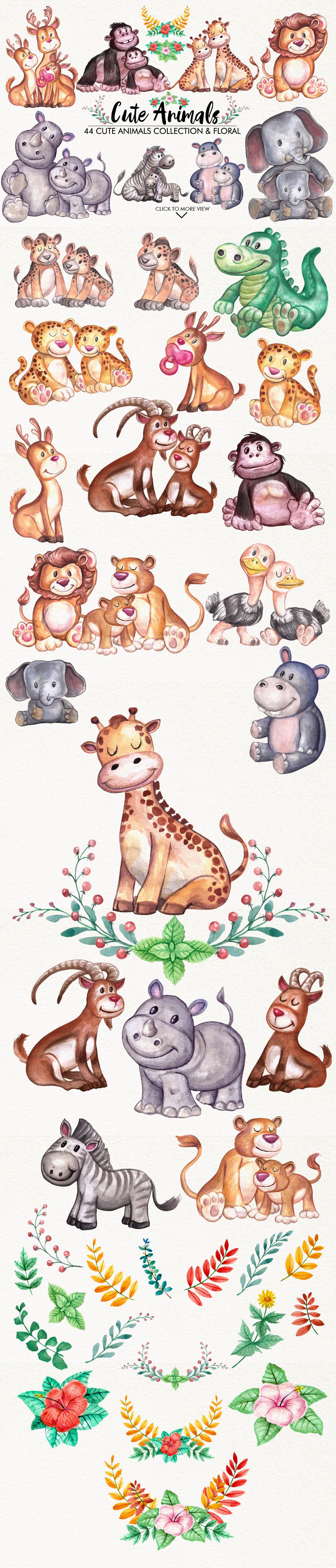 Watercolor Cute Animals example image 3