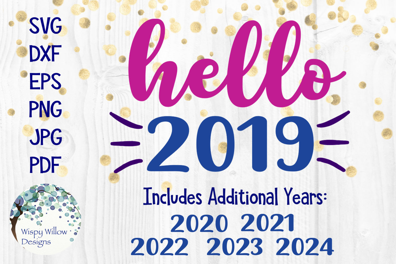 Hello 2019 | New Years SVG example image 1