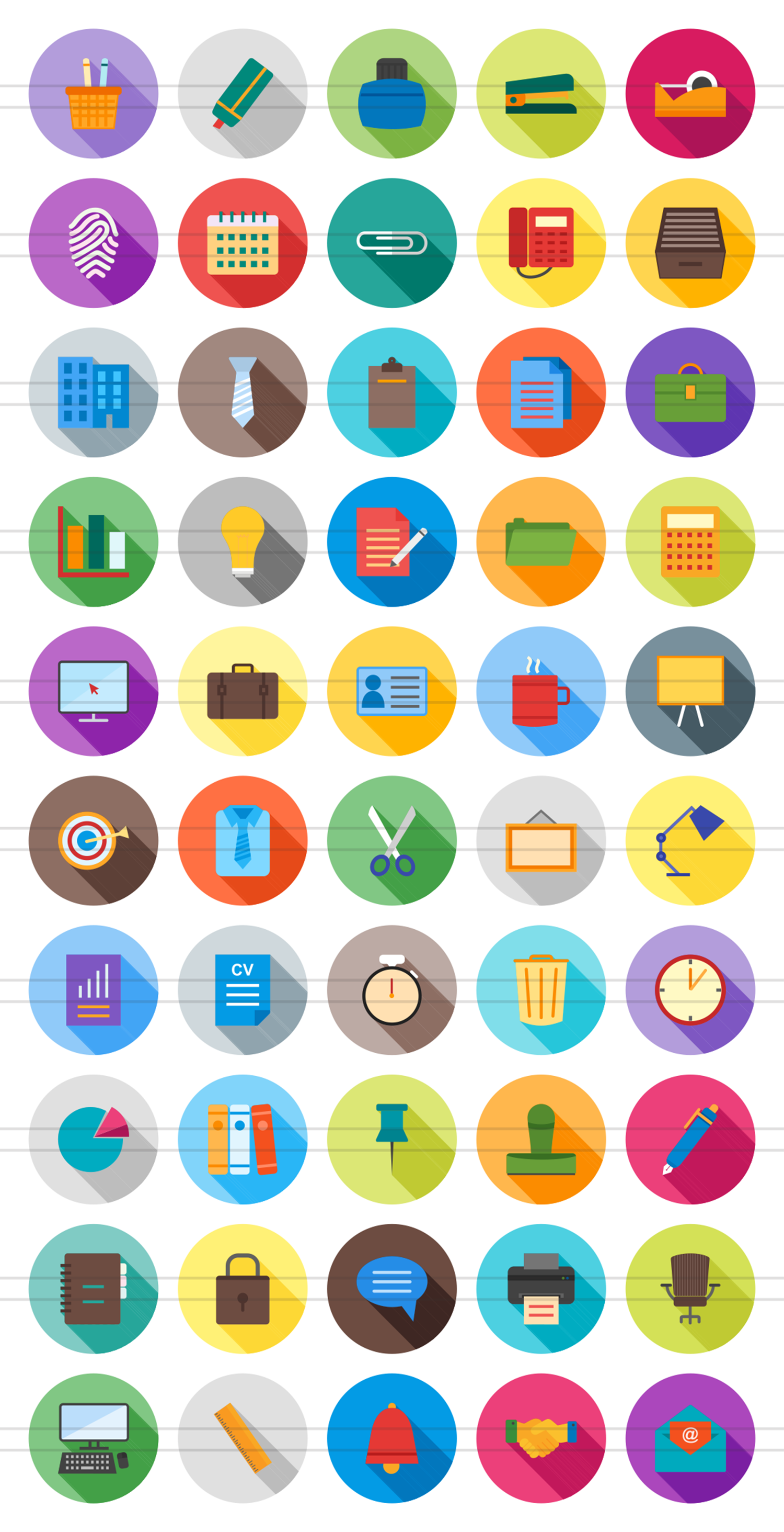 50 Office Flat Long Shadow Icons example image 2