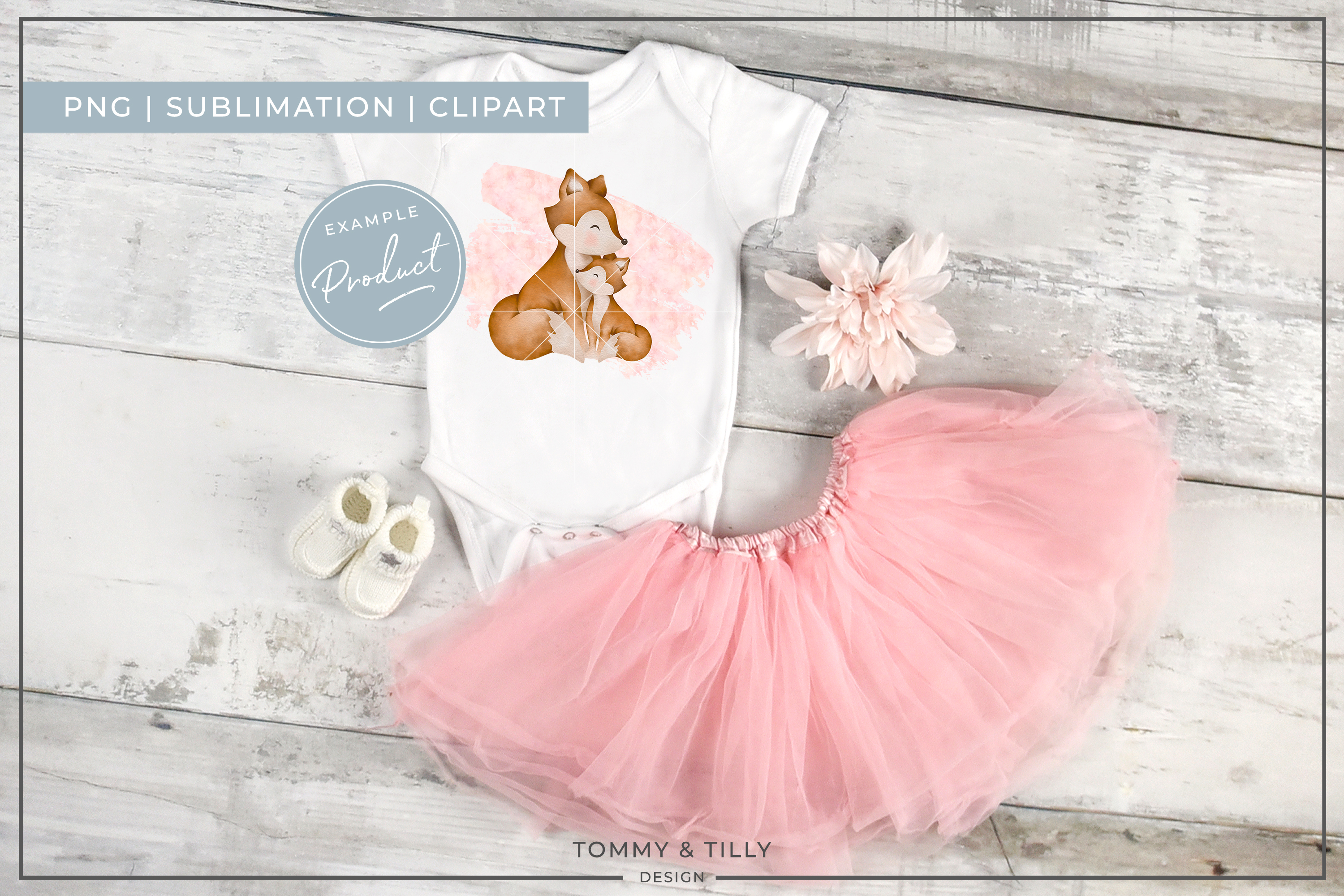 Pink Mummy and Baby Fox - Sublimation PNG Clipart example image 4