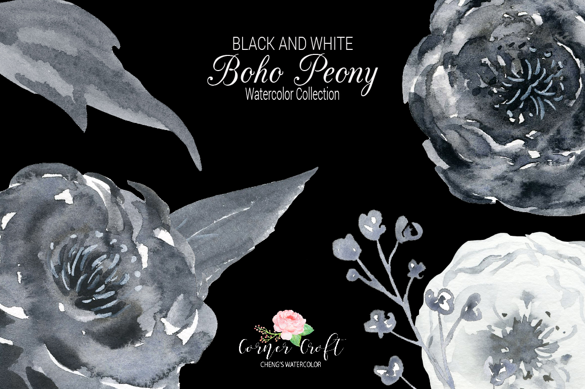 Watercolor Black and White Boho Peony example image 4