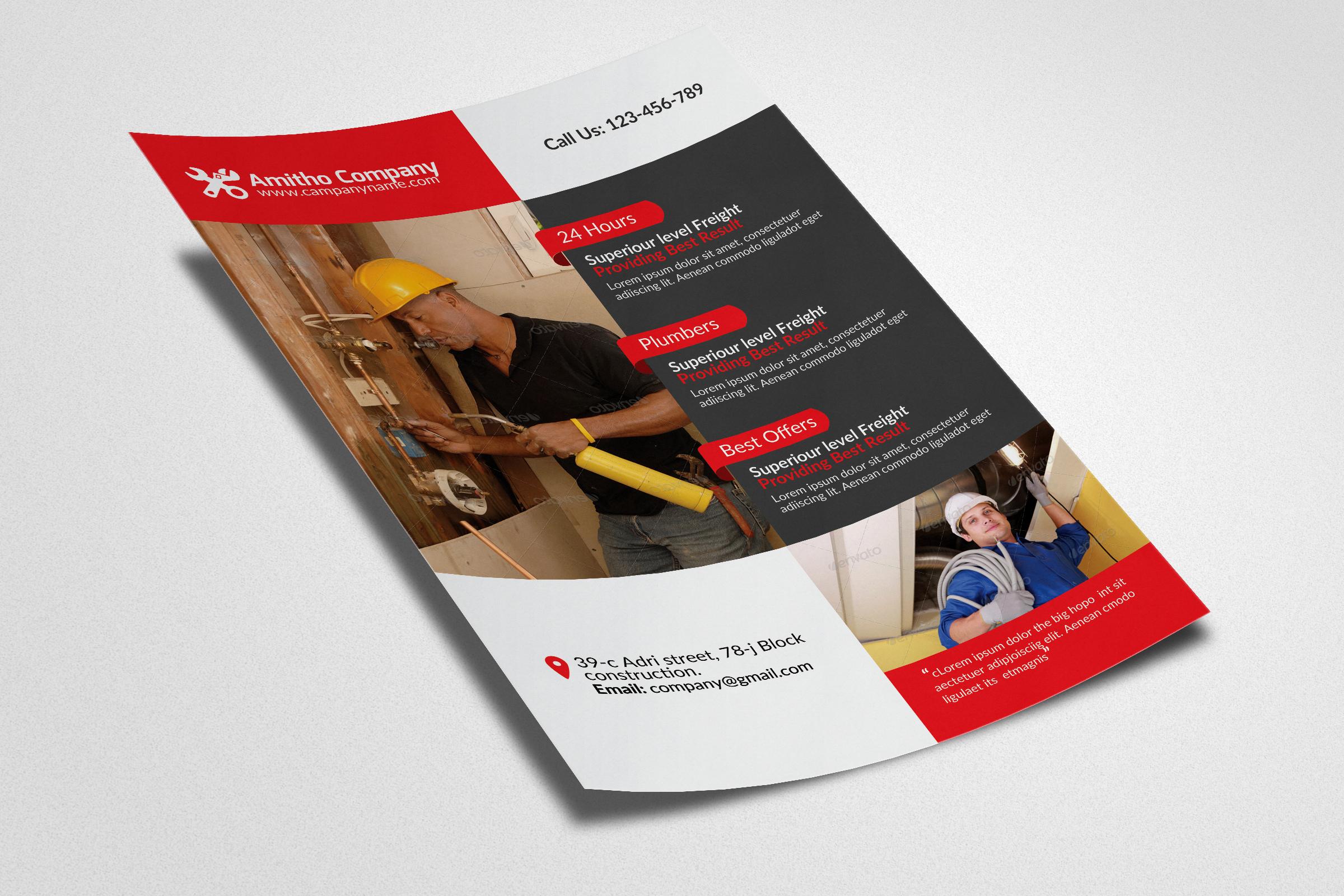 Handyman & Plumber Service Flyer example image 3