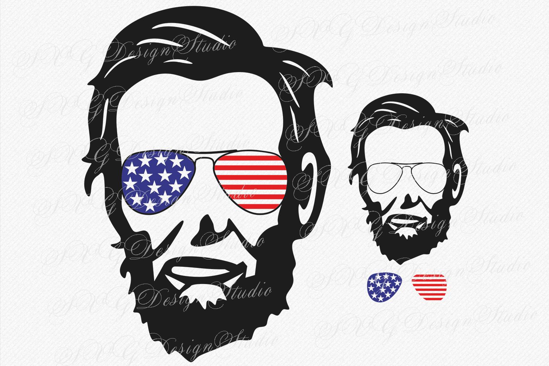 Abraham Lincoln Head, SVG Vector file, Abraham Lincoln svg,  Lincoln head Sunglasses svg, Fourth of July Patriotic SVG Sunglasses Svg Glasses Svg example image 1