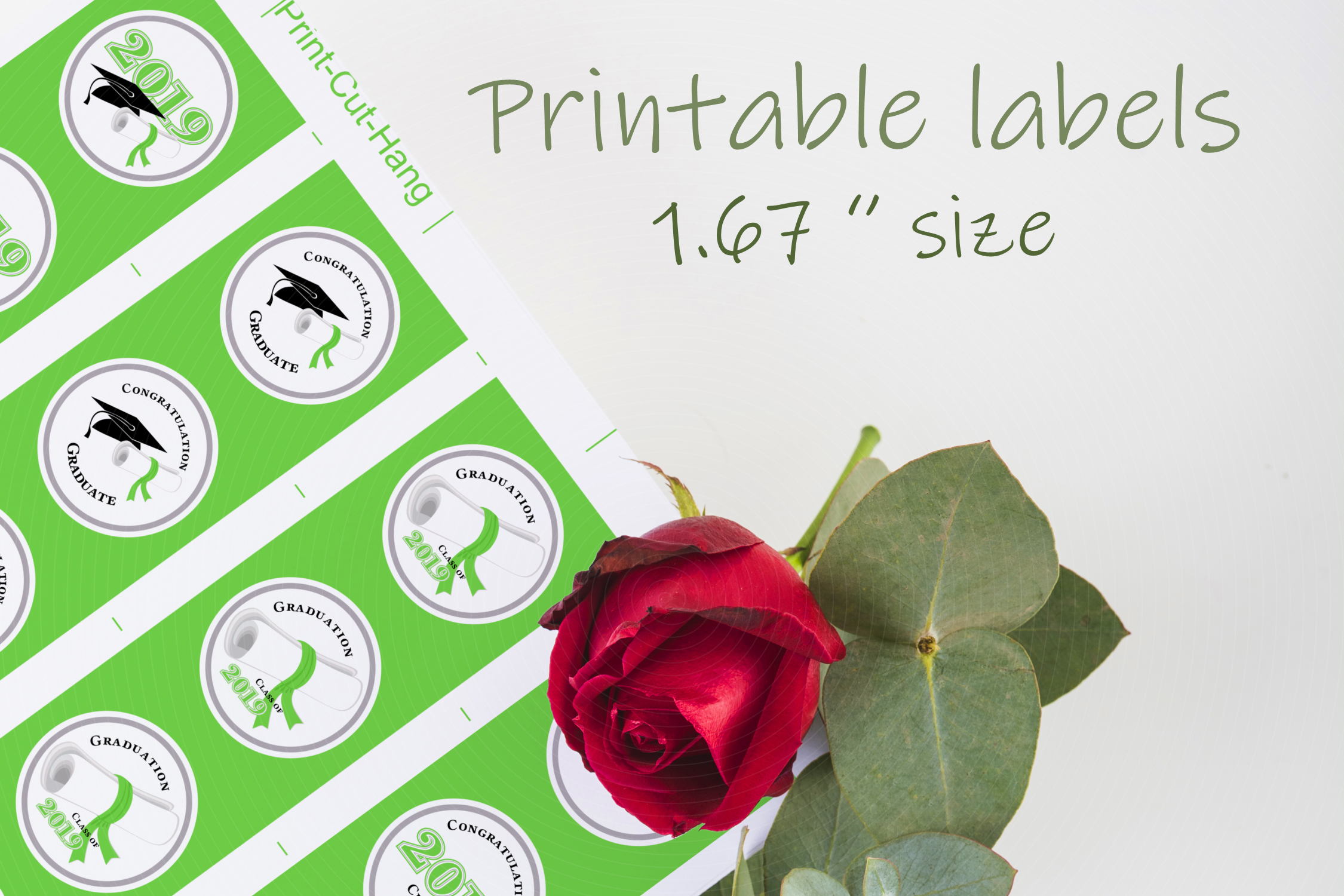 Green Printable Party Stickers Graduation 2019 - size 1.67 i example image 2