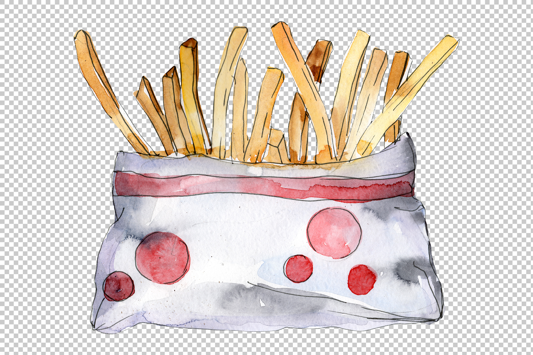 French fries with sauce Watercolor png example image 4