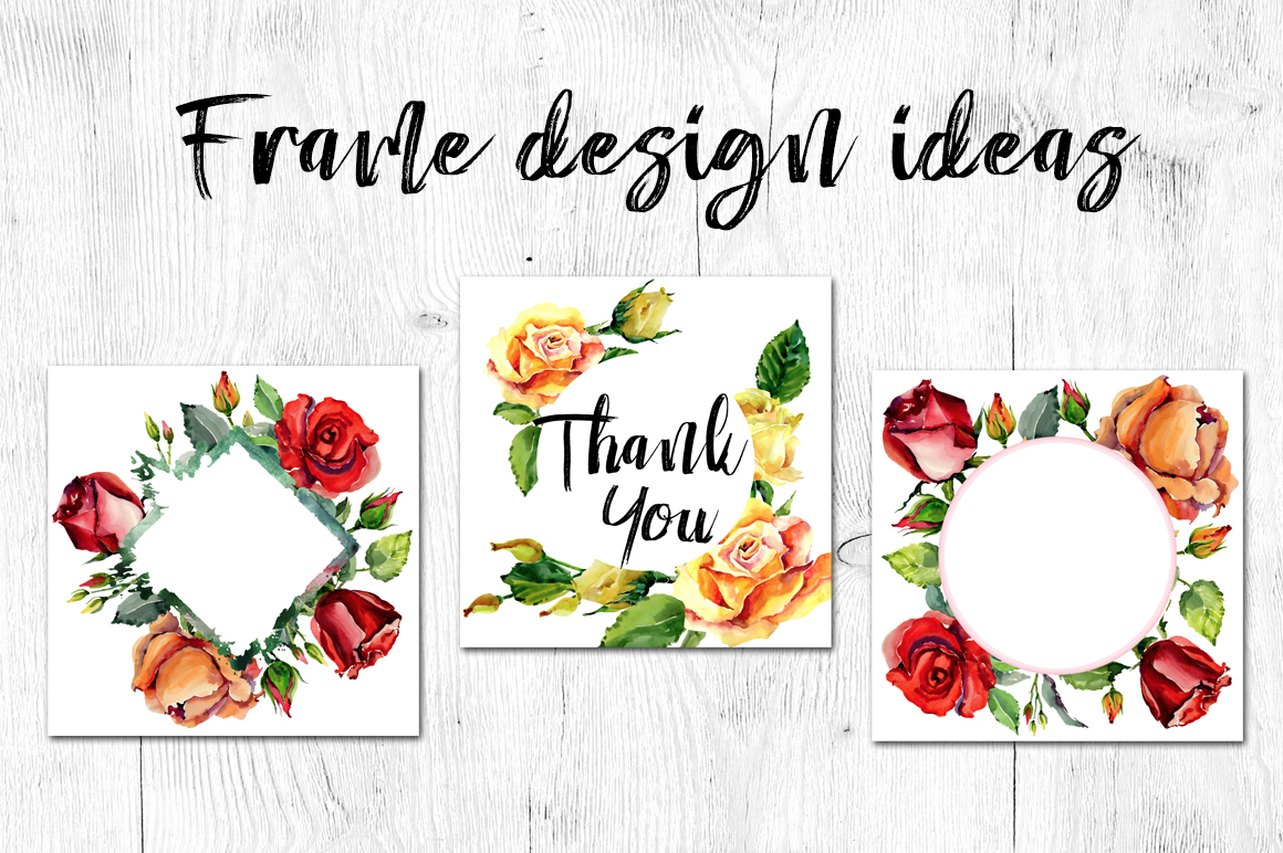 Roses flowers PNG watercolor set example image 7