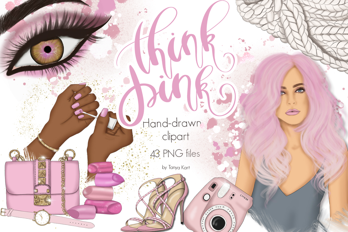 Think Pink Clipart & Patterns example image 1